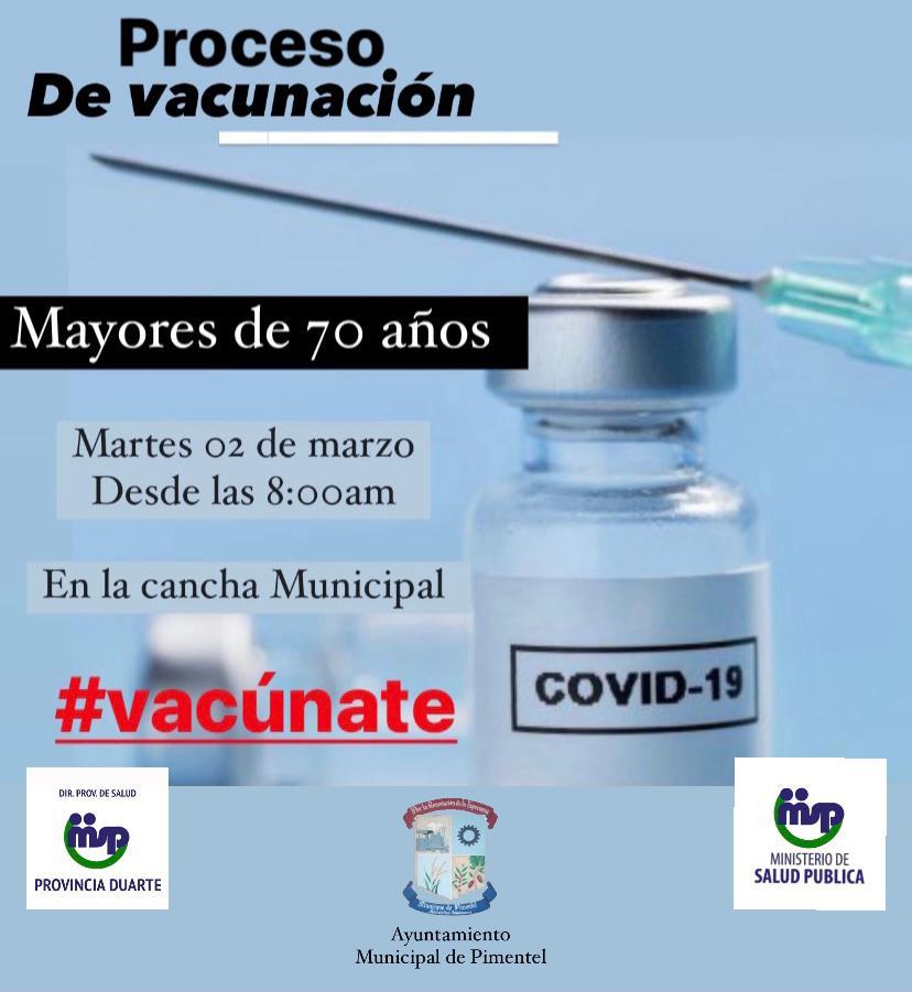 Proceso de vacunación para personas mayores de 70 años.